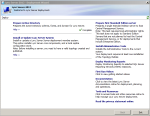 1. Install or Update Lync Server System