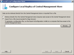 2. Installing Local Configuration Store