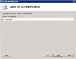 4. Defining the Edge Pool - Internal IPv4